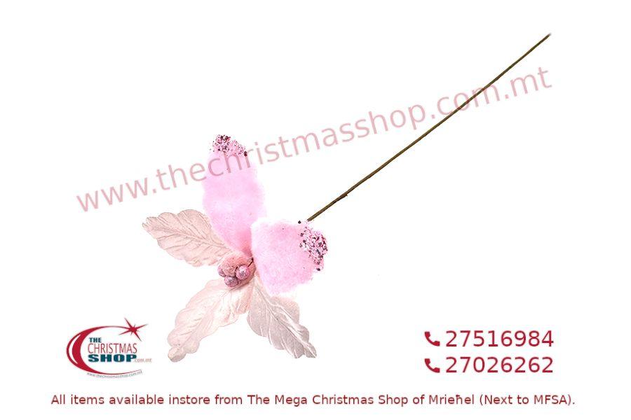 CHRISTMAS DECORATIONS LONG STEM PINK FLOWER. PAR327961