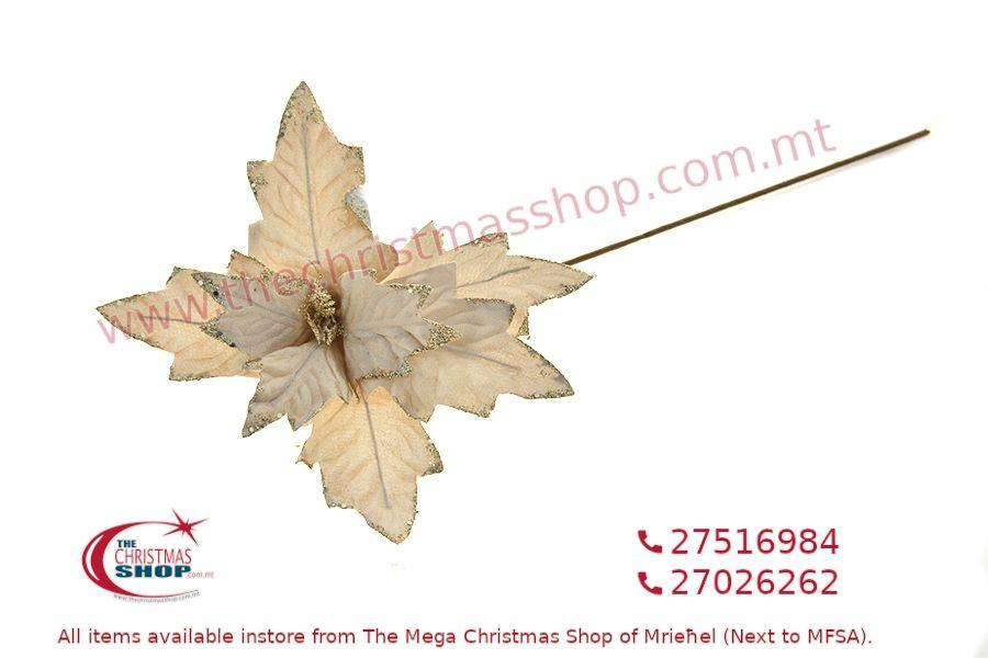 CHRISTMAS DECORATIONS LONG STEM GOLD FLOWER 60CM. PAR424943