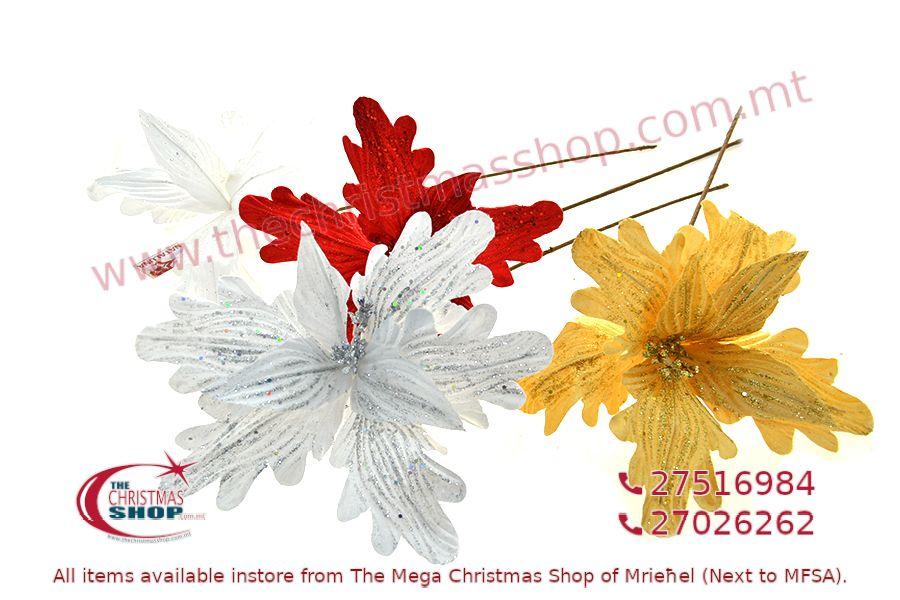 CHRISTMAS DECORATIONS LONG STEM FLOWER. PAR432320