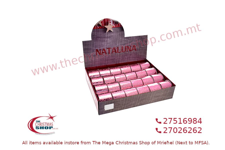 CHRISTMAS RIBBON PINK 3CM X2M. PAR545686