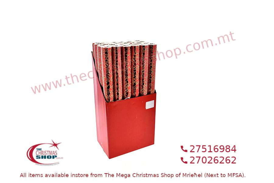 CHRISTMAS WRAPPING PAPER RED/GOLD 48CM X 2M. PAR545815