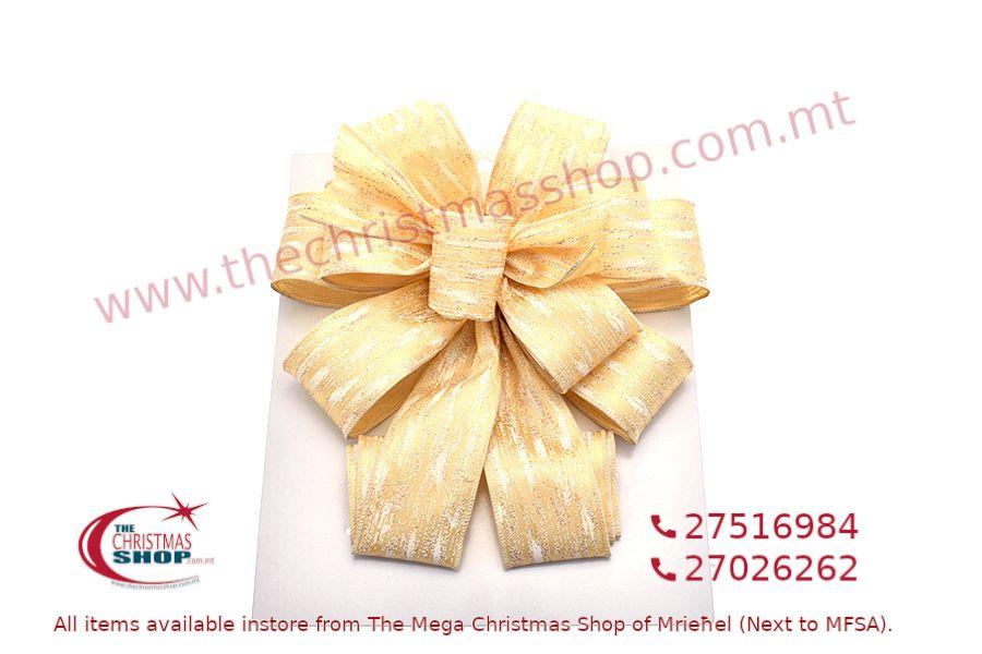 CHRISTMAS DECORATION GOLD BOW 11 X 31CM. PAR546669