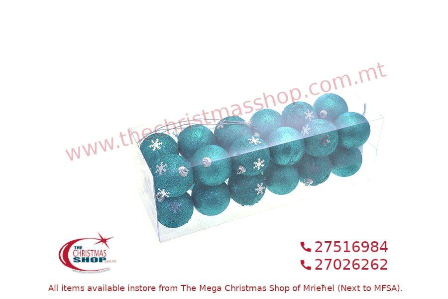 24PCS CHRISTMAS HANGING BALL ORNAMENTS 6CM. PAR028707