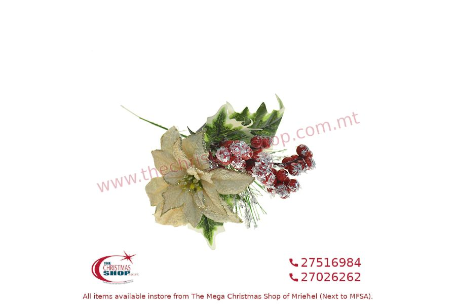 CHRISTMAS DECORATIONS FLOWER AND RED BERRIES WITH STEM. PAR659897